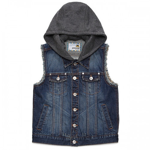 PANCOAT POPEYES BROOCH DENIM HOODIE VEST (GRAND BLUE)