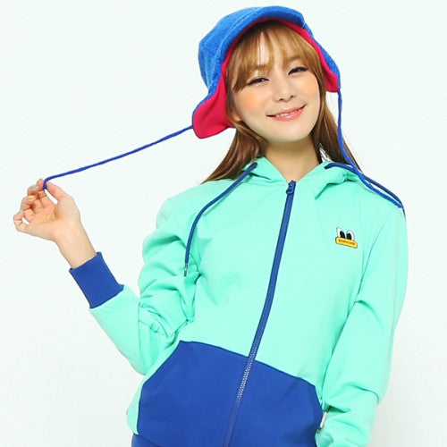 PANCOAT POPEYES COLORBLOCK HOODY ZIPUP (C-1/HA) (MOONSTONE GREEN)