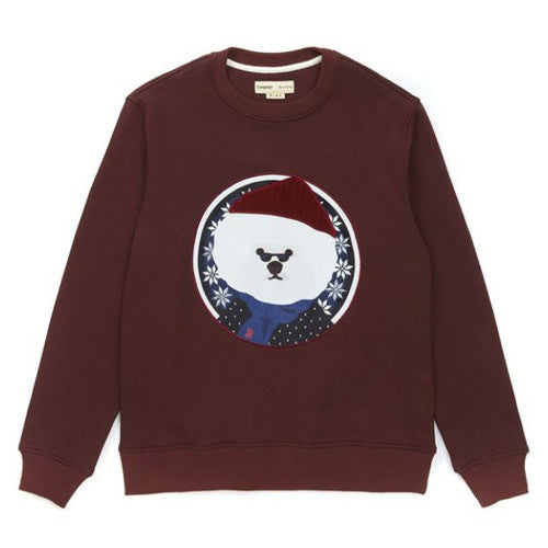 BEYOND CLOSET NORDIC BEANIE DOG PATCH SWEAT SHIRT (BURGUND)