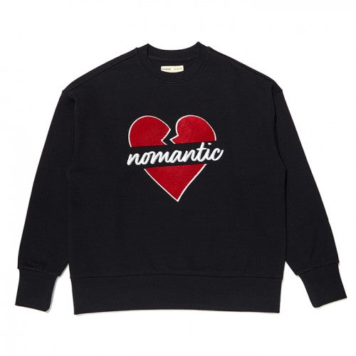 [BEYOND CLOSET X DEUX YEOZA] NOMANTIC HEART PATCH SWEAT SHIRT BLACK