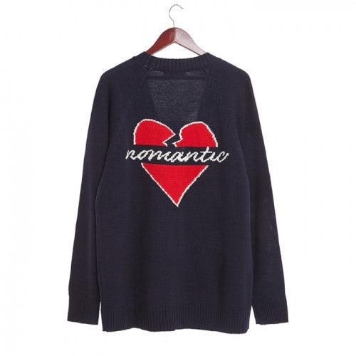 Beyond Closet NOMANTIC HEART BACK LOGO CARDIGAN NAVY