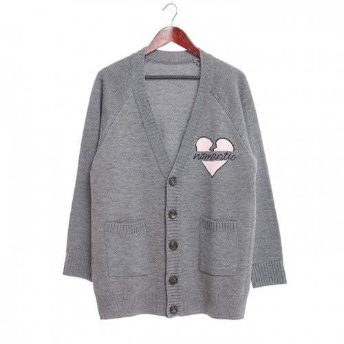 Beyond Closet NOMANTIC HEART LOGO CARDIGAN GRAY
