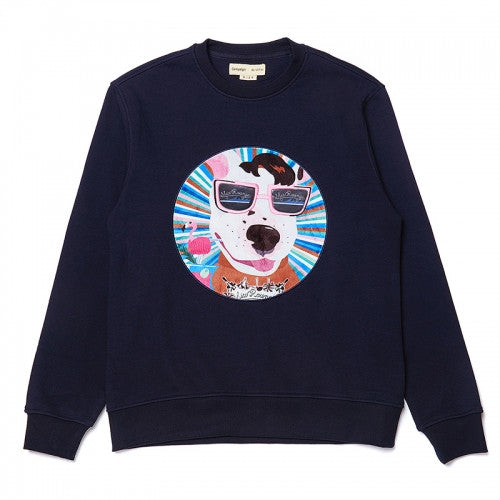 Beyond Closet RAINBOW DOG PATCH SWEAT SHIRT NAVY (Ship after 4/17)
