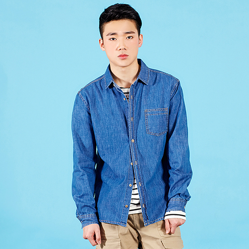 PLAYMONSTER PM-WASHED DENIM SHIRT 160202-17_BLUE