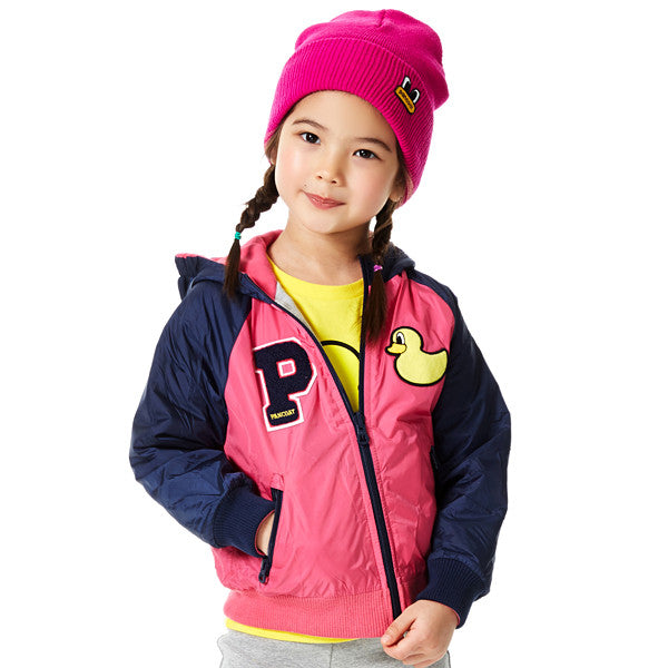 PKOHPSJ04UP4 POPDUCK KIDS REVERSIBLE RAGLAN STADIUMJUMPER (HOT PINK)