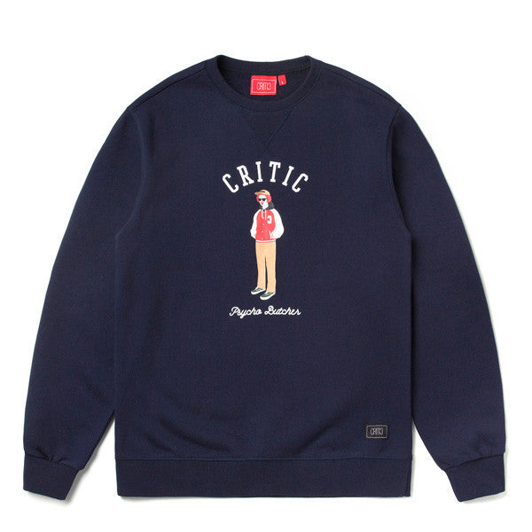 CRITIC ARCH LOGO PSYCHO BUTCHER SWEAT SHIRT (NAVY) CTOSICR04UN0