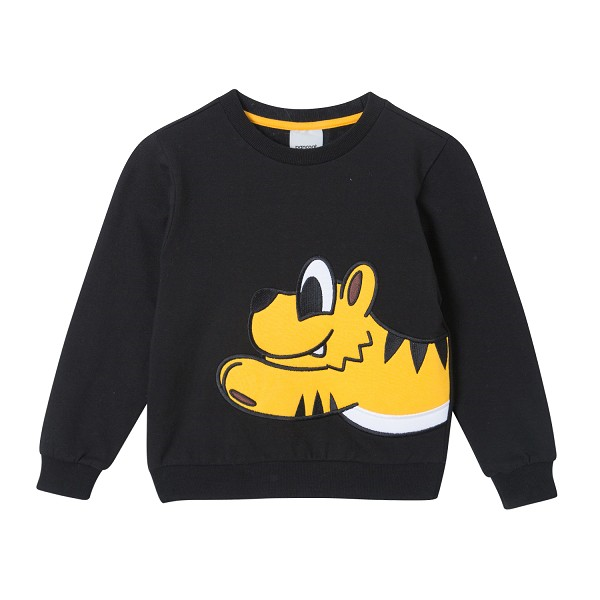 PKOIACR41UC6 BIG POPTIGGER  KIDS CREWNECK (C-3/IA) (MIDNIGHT BLACK)
