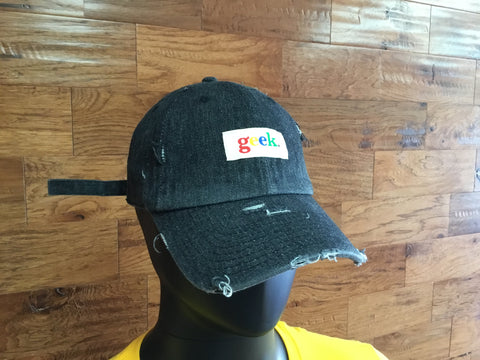 Black distressed hat