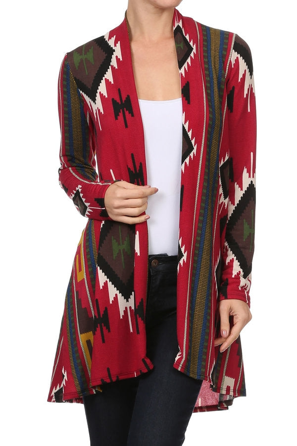 Red Tribal Casual Cardigan