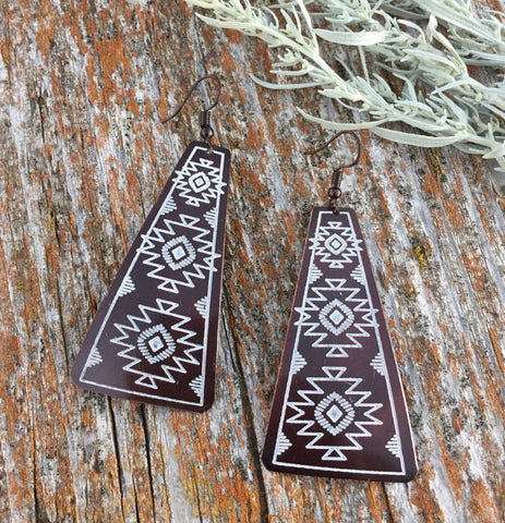 Boho Brass Tone Aztec Earrings