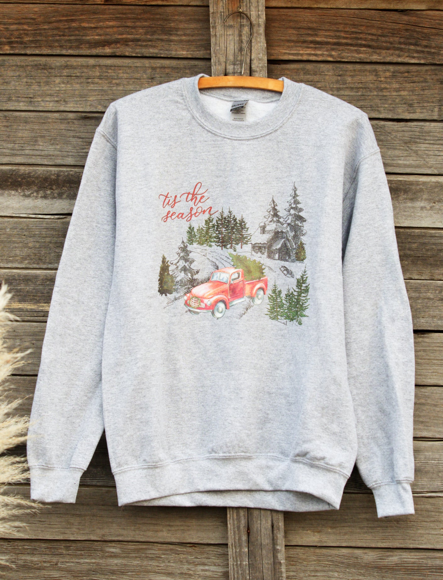 Tis the Season Red Truck Christmas Sweatshirt