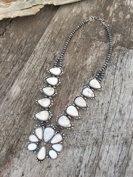Boho Western Squash Blossom Necklace in White Stone