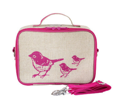 Soyoung  Lunch box Pink Birds (Raw linen)