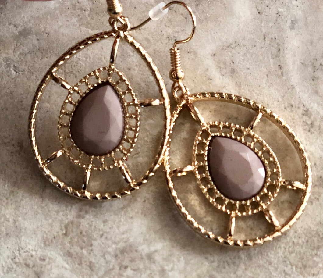 Teardrop Mauve Earrings