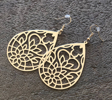 Gold Flower Dangle Earrings