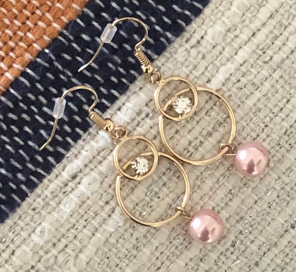 Pink and CZ Double Hoop Earrings