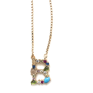 Multi-Color Stone Letter Pendant Necklaces