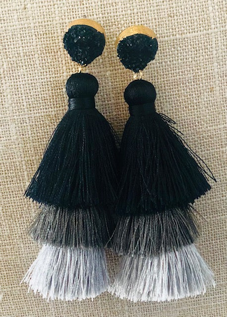 Black | Gray Boho Tassel Earrings