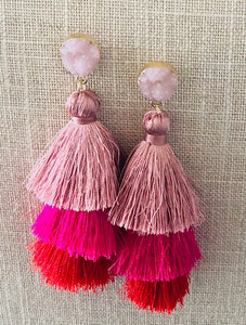 Boho Fluorescent Pink | Red Tassel Earrings