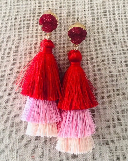 Red | Light Pinks Boho Tassel Earrings