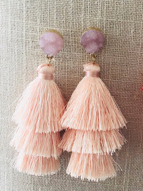 Baby Pink Tassel Earrings