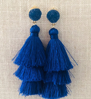 Boho Blue Tassel Earrings