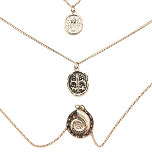 Triplet Coin Necklace
