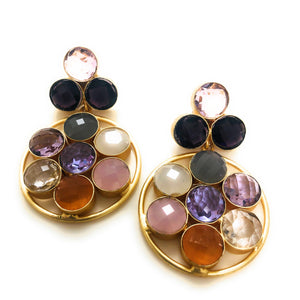 Gold Dangle Earrings | Colorful Stones