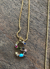 Load image into Gallery viewer, Multi-Color Stone Letter Pendant Necklaces