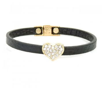 Magnetic Black Leather Heart  Bracelet