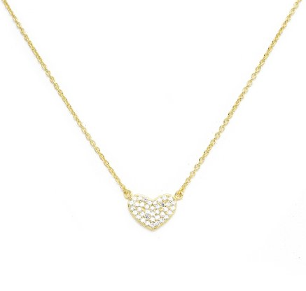 Dazzle Heart Necklace- Sterling Silver