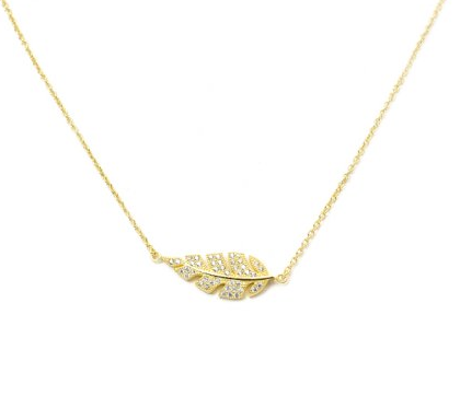 Dazzle Leaf Necklace- Sterling Silver