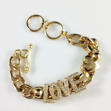 Dazzle Love Chain Bracelet-Gold