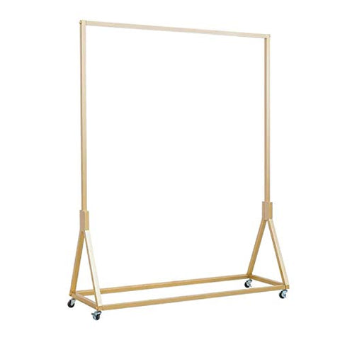 Warm Van Modern Simple Heavy Duty Metal Rolling Garment Rack,Retail Display Clothing Rack,Wrought Iron Single Rod Floor-Standing Hangers Clothes Shelves (Gold Square Tube With Wheels, 47.2 L)