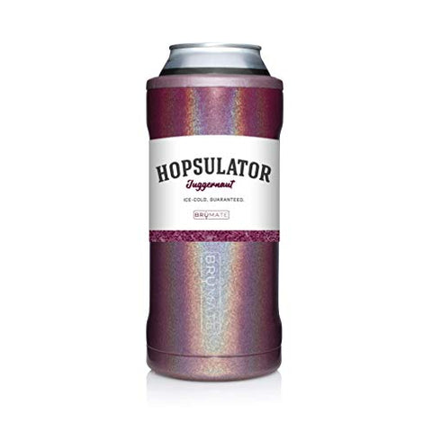 Brmate Hopsulator Juggernaut Double-Walled Stainless Steel Insulated Can Cooler For 24 Oz And 25 Oz Cans (Glitter Merlot)