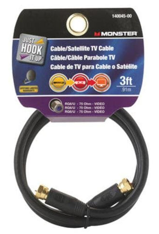 Cable Coax Rg6 3' Black By Monster Jhiu Mfrpartno 140045-00