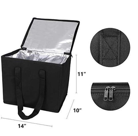 6ee4ee533236 Veno Reusable Insulated Large Grocery Shopping Bags, Collapsible Zippered  Cooler With Reinforced Bottoms, Heavy Duty Anti Piercing Aluminium Lining,  ...