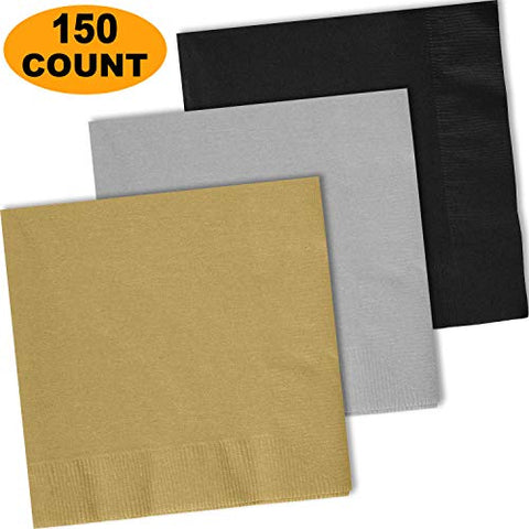 150 Lunch Napkins, Glittering Gold, Shimmering Silver, Midnight Black - 50 Each Color. 2 Ply Paper Dinner Napkins. 6.5  Folded, 13.5  Unfolded.
