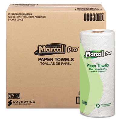 Marcal 630 100% Recycled Paper Towel Roll, 2-Ply Perforated, White, 70 Sheets Per Roll
