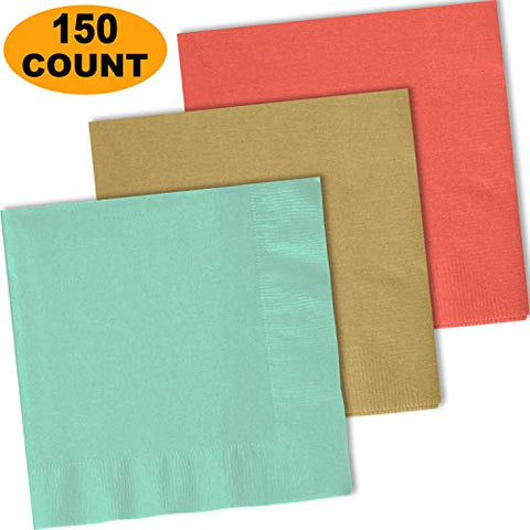 150 Lunch Napkins, Mint, Glittering Gold, Coral - 50 Each Color. 2 Ply Paper Dinner Napkins. 6.5  Folded, 13.5  Unfolded.