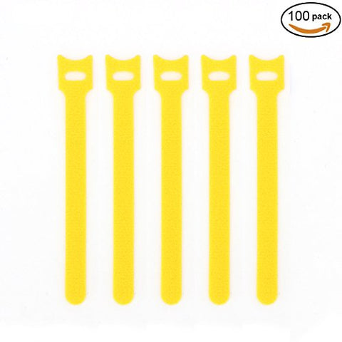 Pasow 100Pcs 6-Inch Reusable Fastening Cable Ties Adjustable Strap Wire Management - Yellow
