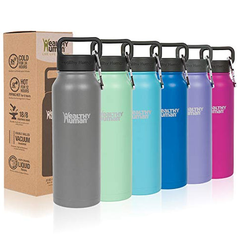 Healthy Human Classic Collection Insulated Stainless Steel Water Bottle Stein - Cold 24 Hours/Hot 12 Hours - Double Walled Vacuum Flask - 32 Oz Slate Gray