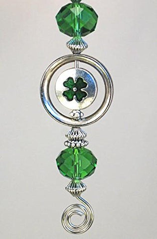 Car Accessory Rear View Mirror Ornament Good Luck Of The Irish Silver & Green Four Leaf Clover