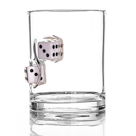 The Original Whiskey Glass Embedded With A Casino Dice - White