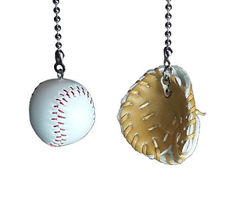 Deluxe Baseball, Bat & Glove Fan Pull Set By Wooden Androyd Studio (Baseball & Glove)