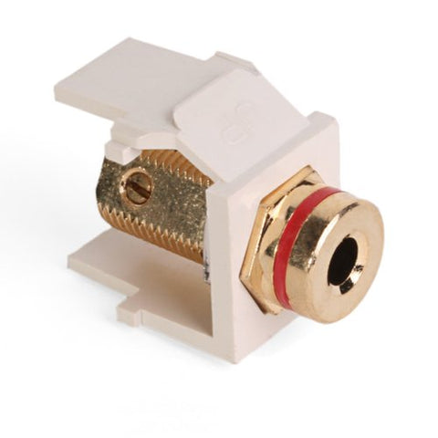 Leviton 40837-Btr Quickport Banana Jack Adapter, Gold-Plated With Red Stripe, Light Almond