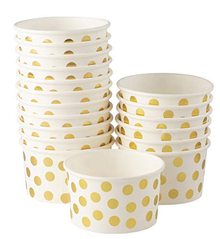 Ice Cream Sundae Cups - 100-Piece Disposable Paper Dessert Ice Cream Yogurt Bowls Party Supplies, Gold Foil Polka Dots Design, 8-Ounce, White
