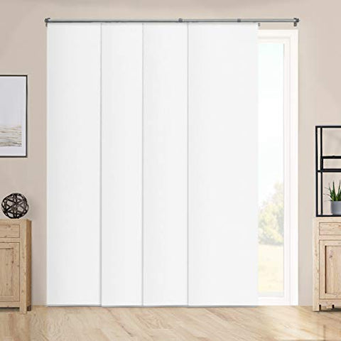 Chicology Cordless, Adjustable Sliding Panels, Cut To Length Vertical Blinds, Performance White (Room Darkening) -Up To 80  W X 96  H