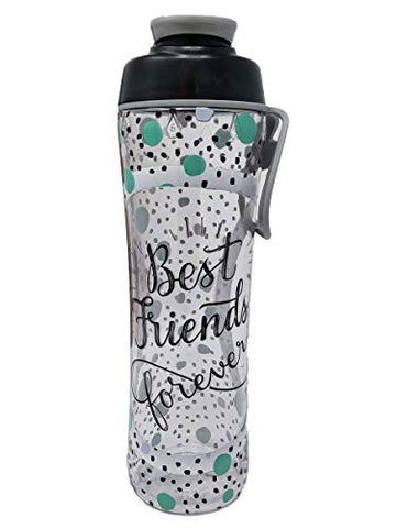 50 Strong Bpa Free Gym Water Bottle With Ice Guard Flip Top Cap &Amp; Carry Loop - Cute Designer Prints - Perfect For Men, Women, Sports &Amp; Workout - 24 Oz. - Made In Usa (Best Friends Green, 24 Oz.)