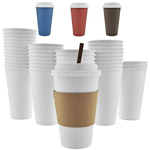 - 16 Oz [12 Oz] [4 Colors] Disposable Hot Paper Coffee Cups, Lids, Sleeves, Stirring Straws - Clean White
